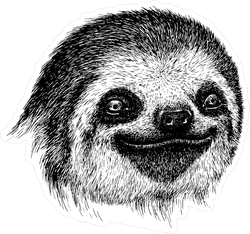 Smiling Engraved Sloth Face Sticker