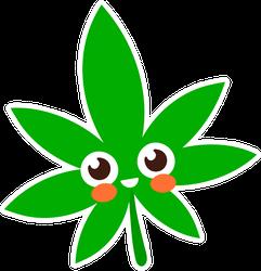 Smiling Happy Marijuana Leaf Cartoon Sticker