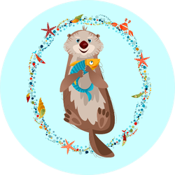 Smiling Sea Otter Holding A Fish In Paws Sticker