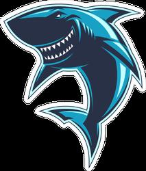 Smiling Sharks Sport Team Mascot Logo Sticker
