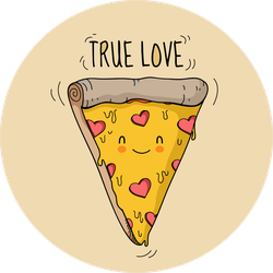 Smiling Slice Of True Love Pizza Sticker