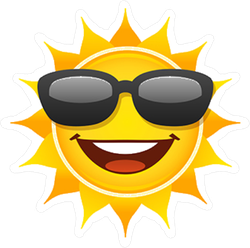 Smiling Sun With Sunglasses Sticker