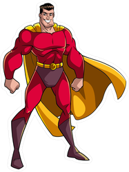 Smiling Superhero Standing Tall Sticker