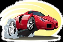 Smoking Cartoon Sports Car Sticker