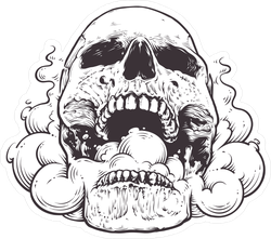 Smoking Skull Art Sticker