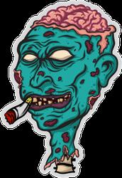 Smoking Zombie Head Sticker