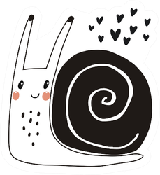 Snail With Hearts Sticker