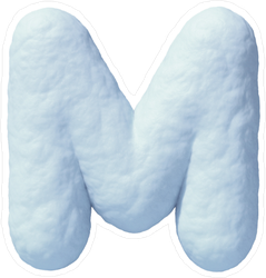 Snow Font Letter M Sticker