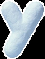 Snow Font Letter Y Sticker