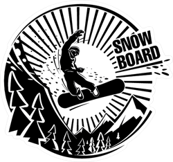 Snowboarder Jumping In Mountains Sticker