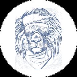 Snowboarding Lion Head Sticker