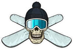 Snowboarding Skull In Hat And Goggles Sticker
