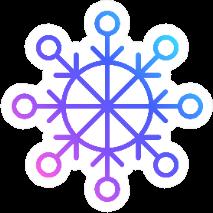 Snowflake Icon In Line Art Vibrant Color Gradient Sticker