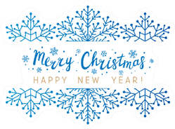 Snowflakes Border With Merry Christmas Lettering Sticker
