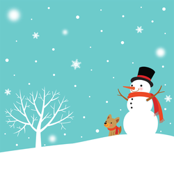 Snowman And Cute Dog In Winter Sticker
