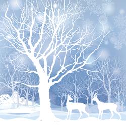 Snowy Winter Landscape With Two Deers Sticker