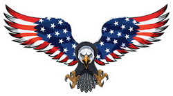 Soaring American Eagle With USA Flag Wings Sticker