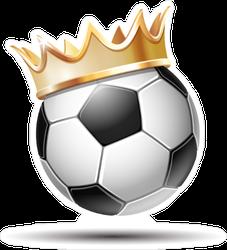 Soccer Ball In Golden Royal Crown Sticker