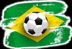 Soccer Ball on Brush Stroke Brazil Flag Sticker