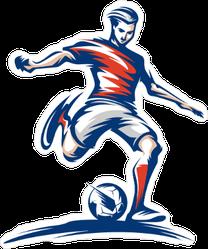 Soccer Player Kicking Ball Vector Art Sticker