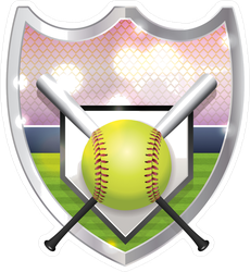 Softball, Base, and Bats Shield Sticker