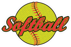 Softball Design With Textured Ball Sticker
