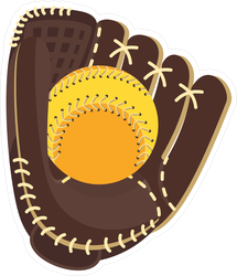 Softball Glove And Ball Sticker
