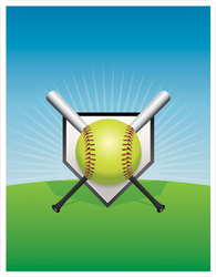 Softball Home Plate And Crossed Bats Sticker