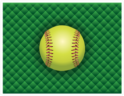 Softball On A Green Checkered Background Sticker