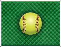 Softball On A Green Checkered Background Sticker