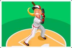 Softball Player On Baseball Field Sticker