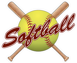 Softball Team Design With Crossed Bats Sticker