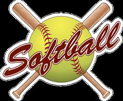 Softball Team Design With Crossed Bats Sticker