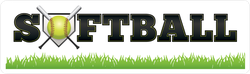 Softball Text With Equipment and Grass Sticker