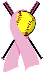 Softball Wrapped In A Pink Breast Cancer Ribbon Sticker