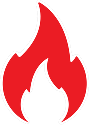 Solid Red Fire Icon Sticker