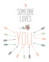Someone Loves You Floral Arrow Sticker