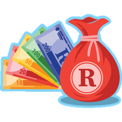South African Rand Money Bag Sticker