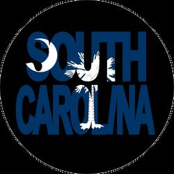 South Carolina Circle With Flag Sticker