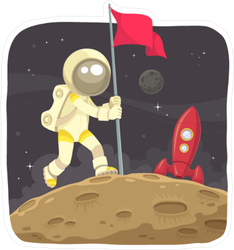 Space Adventurer Claiming the Moon Sticker