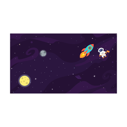 Space Background With Rocket And Astronaut Sticker