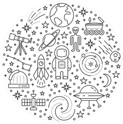 Space Line Icon Collection Circle Sticker