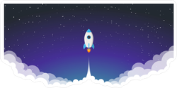 Space Rocket Launch Sticker