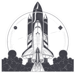 Space Shuttle Takeoff Sticker