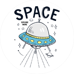 Space UFO Drawing Sticker