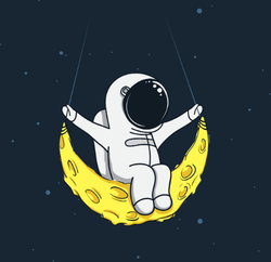 Spaceman Swinging On The Moon Sticker