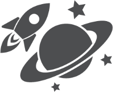 Spaceship Orbiting Saturn Sticker