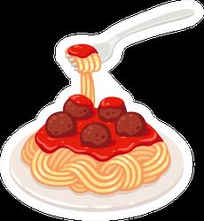 Spaghetti With Tomato Sauce And Meatballs Sticker