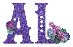 Sparkly Floral Purple Alabama Abbreviation Sticker