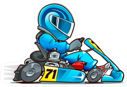 Speeding Cartoon Kart Racer Sticker